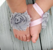 Baby Barefoot Sandals . Gray Flower With