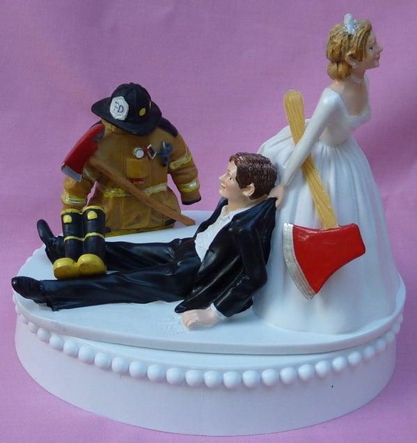 Wedding Cake Topper Fireman Firefighter Fire Uniform Boots Axe