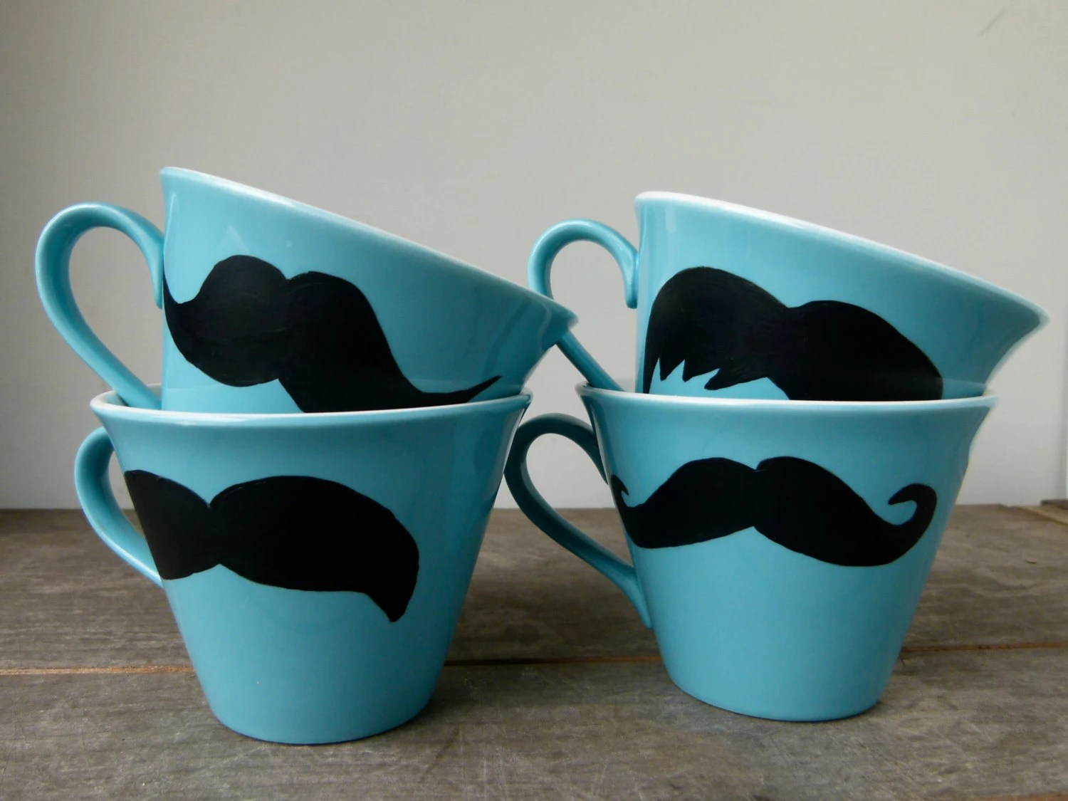SUMMER SALE - Mustache Mugs, Set of Four Mugs, Turquoise Mugs, Housewarming Gift, Groomsmen Gift - frankieandcocopdx