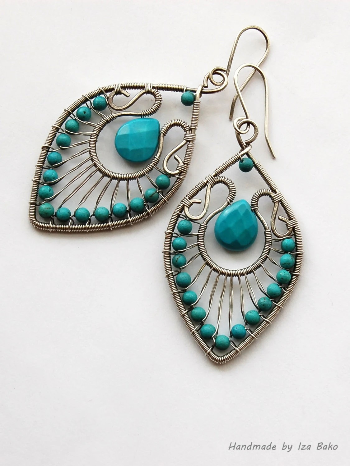 Handmade Wire Wrapped Statement Earrings With Turquoise