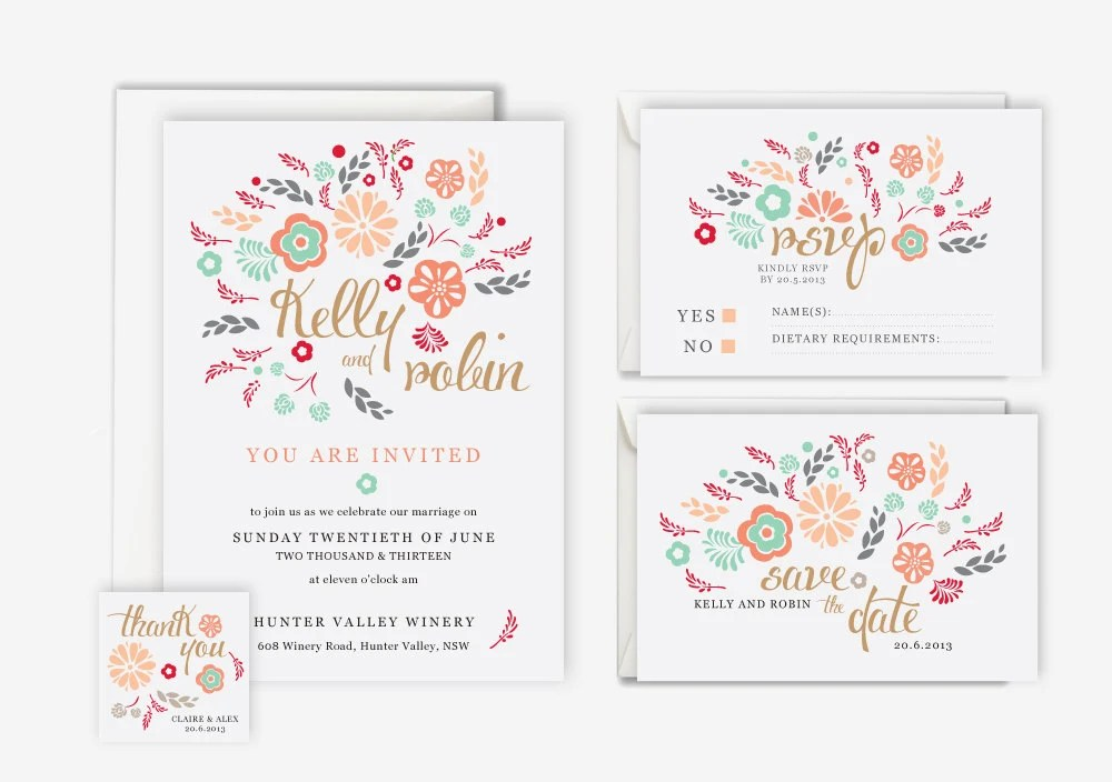 Pink and Mint  Floral Wedding Invitation Suite (Printable) - save the date, rsvp, reply, favor tag, wedding stationery set - ZestAndLime