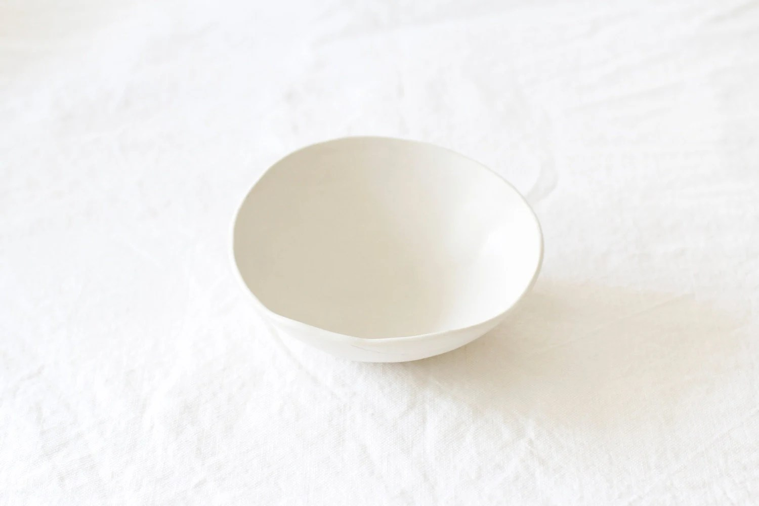 Handmade White Ceramic Bowl - lookslikewhite
