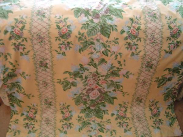 Vintage 1940s English Cotton Chintz Tablecloth Curtain Long