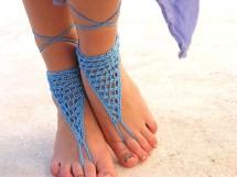 Barefoot Sandals Blue Crochet Sandals. Sandles