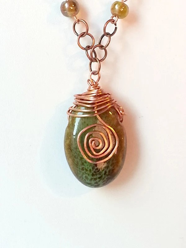 Mistress of Celts - Wire wrapped stone necklace