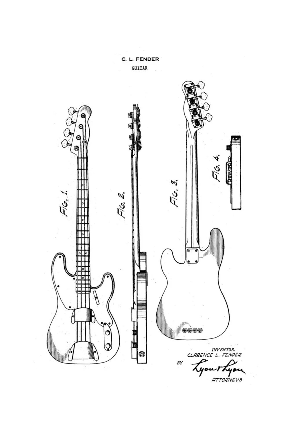 Items similar to Fender Precision Bass Guitar V1 Patent