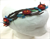 Leather Flower and Leaf Vines Headband Circlet, custom made to order - GlindaBunny