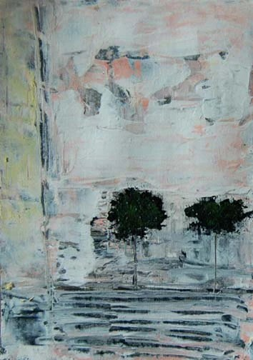 Abstract Painting Our Spot Under the Trees Original Acrylic Art, Watercolor Paper, Cityscape, Black, White, Gray, Pink, Muted Colors