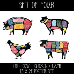 Cow Meat Diagram 4 Pin Cfl Wiring Set Of Four Butchery Diagrams Pig Lamb Chicken