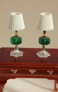 Matching Table Lamps Miniature Dollhouse Decor Dark Green