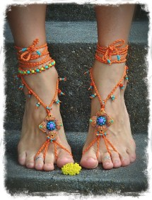 Shanti Barefoot Sandals Burnt Orange Wedding Beaded Gpyoga