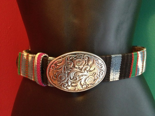 Vintage Southwestern Cloth Woven Belt Guatemalan Inspired