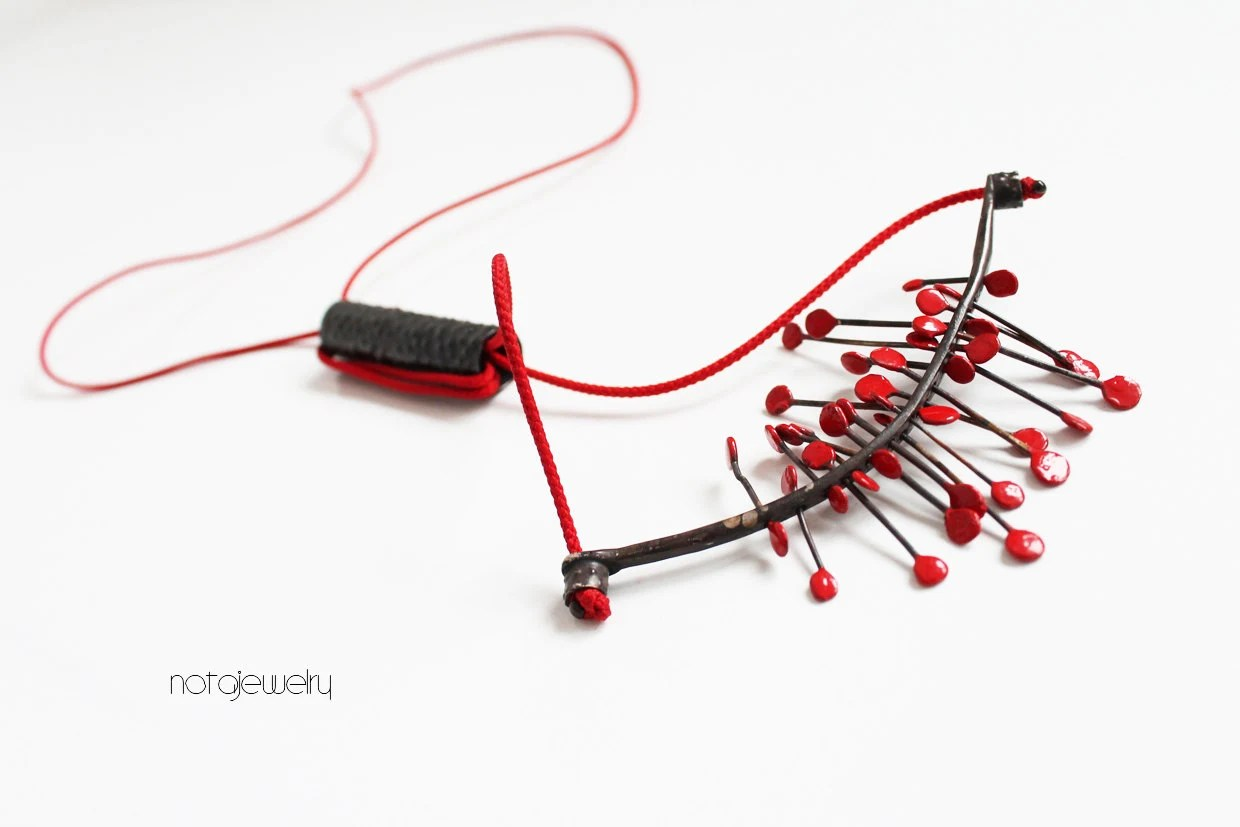 Black and red silver necklace - OOAK contemporary jewelry - Modern original red necklace - Unique handmade sterling silver jewelry - notAjewelry