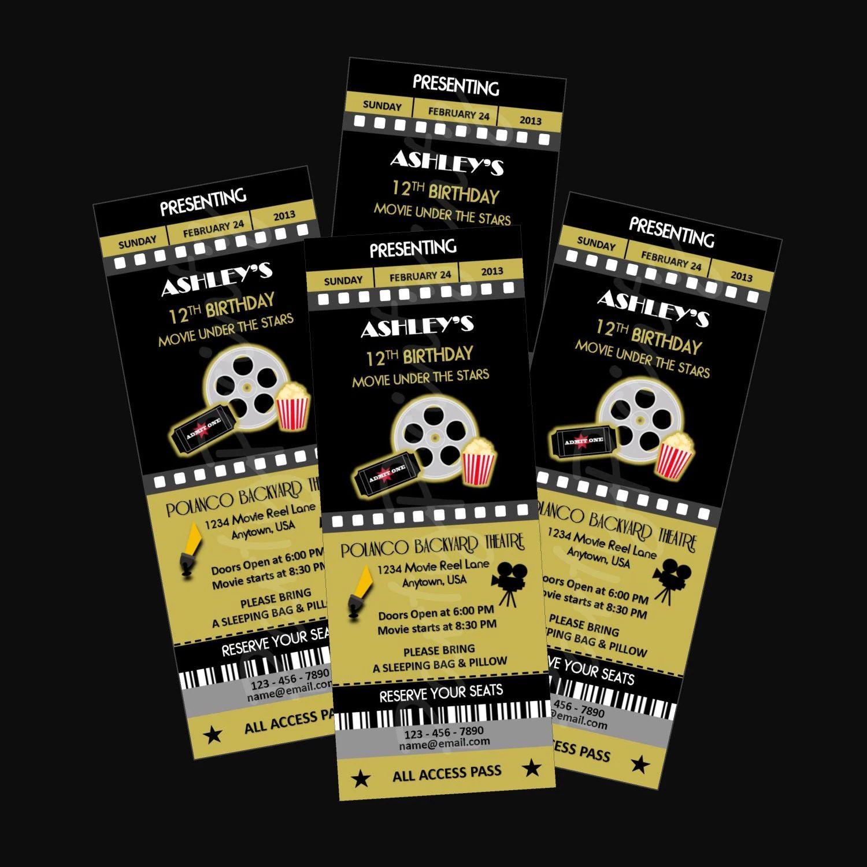 printable movie ticket invitations