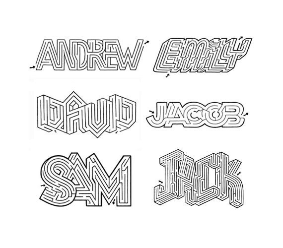 CUSTOM Hand-Lettered Name Maze Fun Activity for All Ages