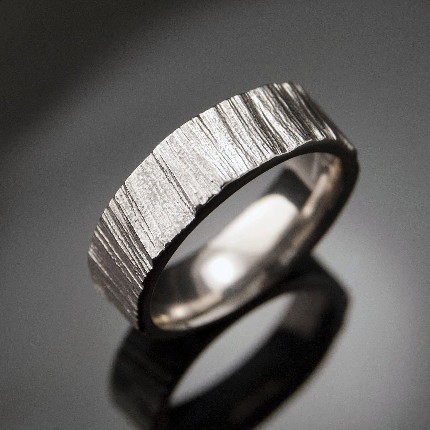 Saw Cut Wedding Band Ring Textured Palladium Ring Unisex