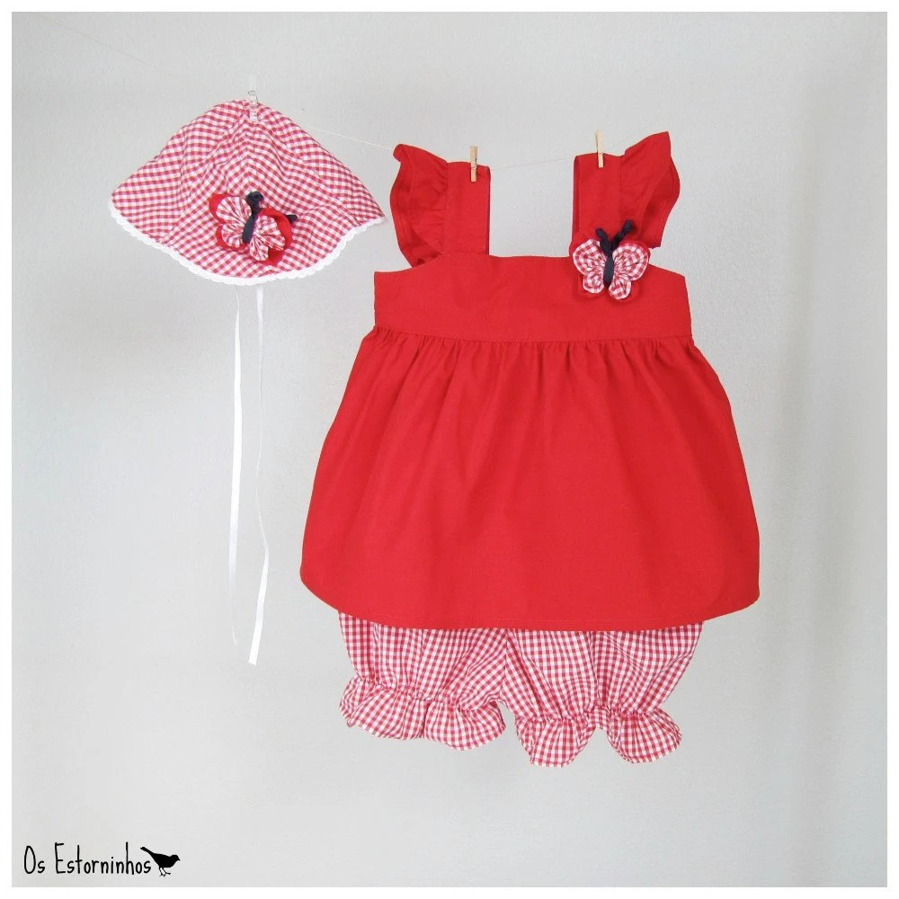 Baby Girl Outfit - Red Tunic, Fuxico red plaid butterfly on the chest, Red plaid baby diaper cover - shorts