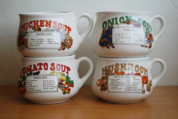 Vintage Soup Bowl Mugs with Handle