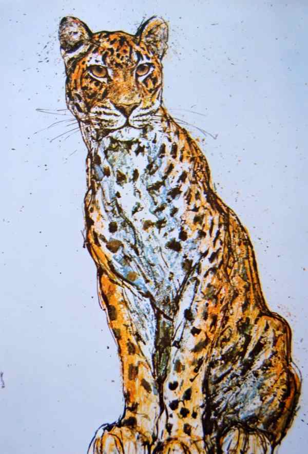Leopard Art Print Fritz Hug Poster Litho Usa 1971 Big Cat