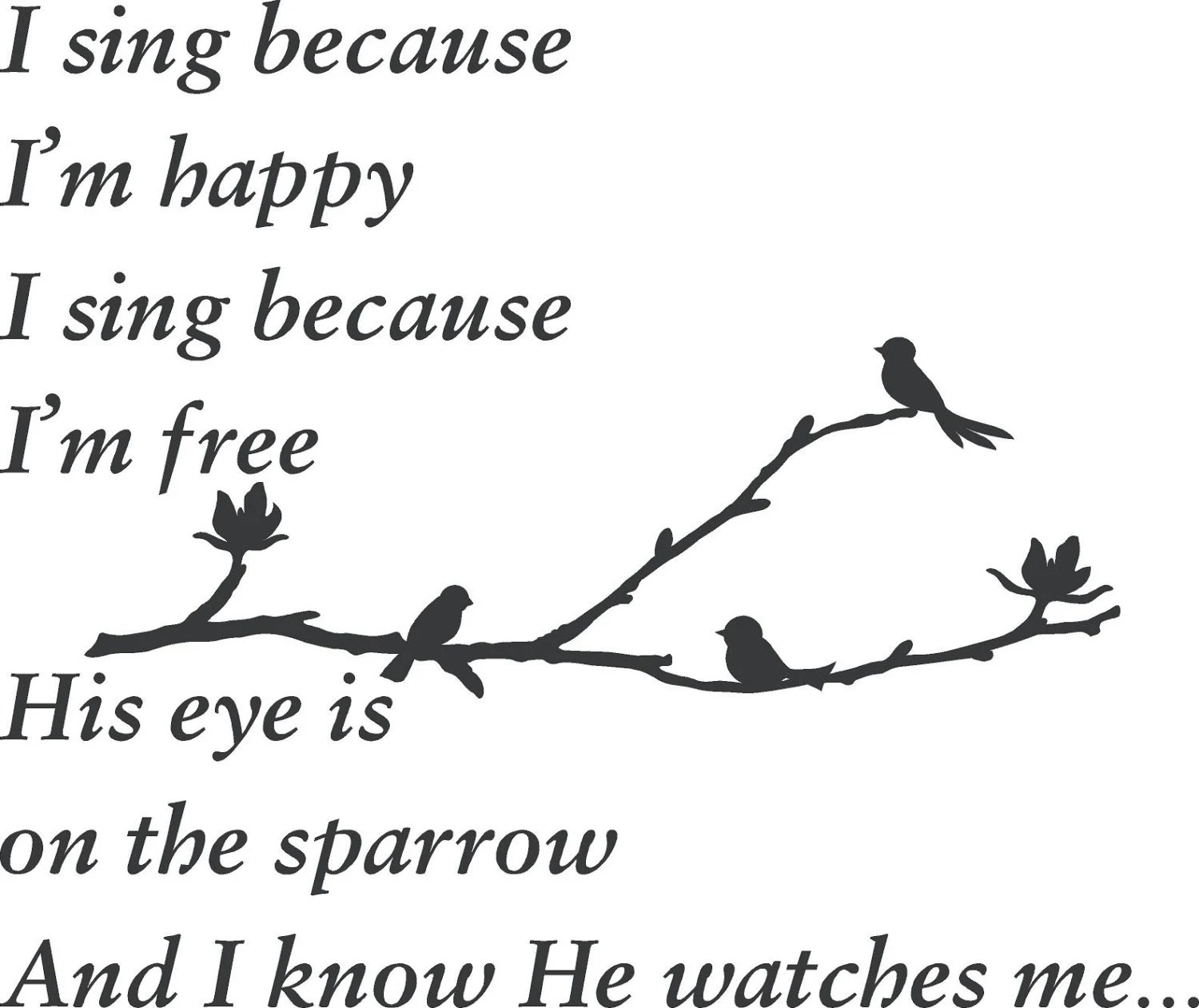 Song I sing because Im happy His eye is on the sparrow Matthew
