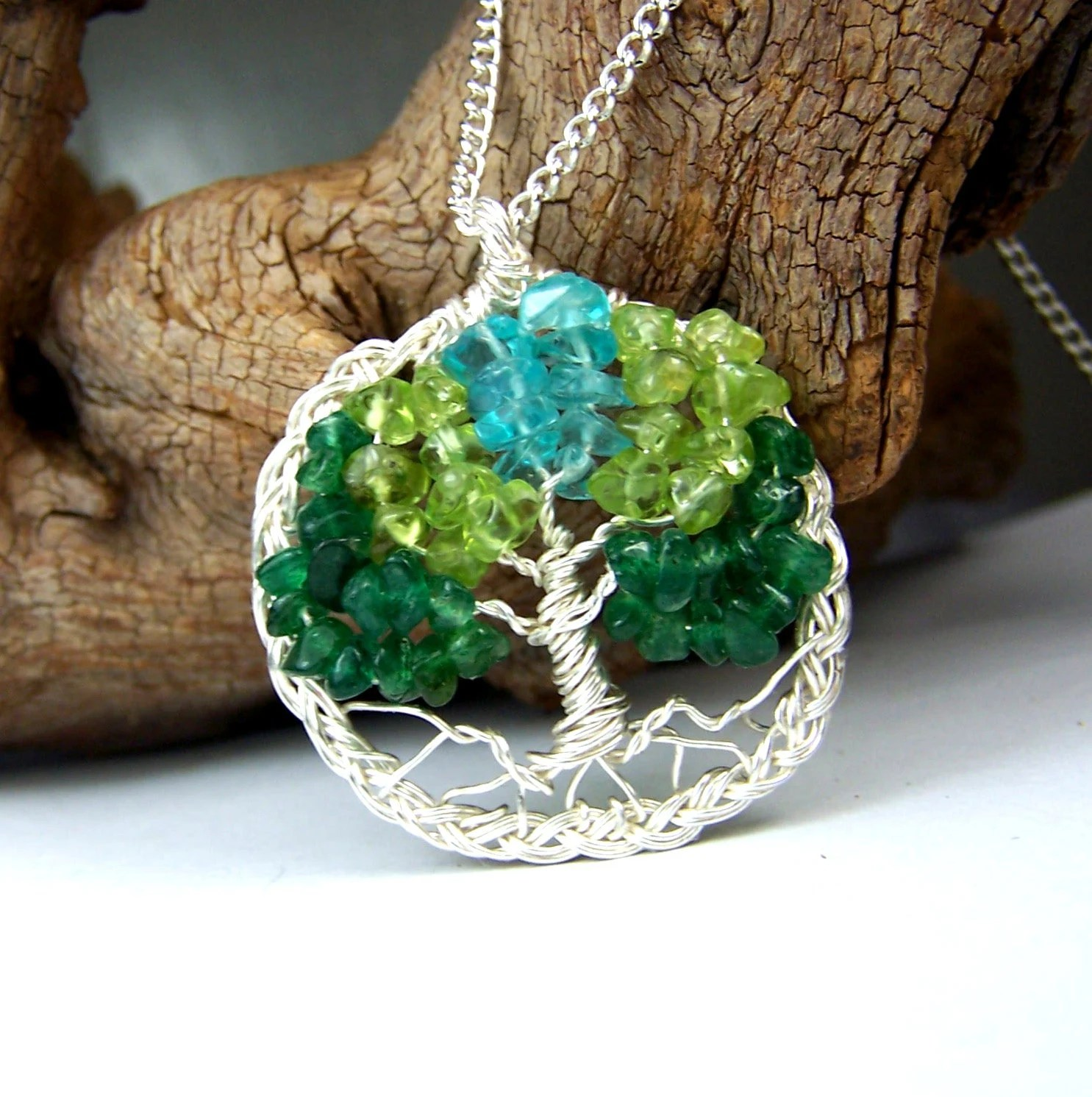Celtic Knot Tree of Life necklace pendant in silver with chain - Emerald Green Aventurine - Peridot - Aquamarine blue - circle braided braid - mandalarain