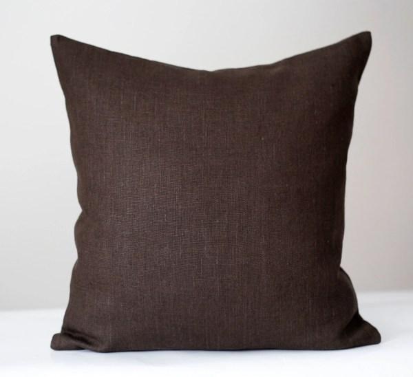 Linen Sham Chocolate Brown Throw Pillows Pillow Cover