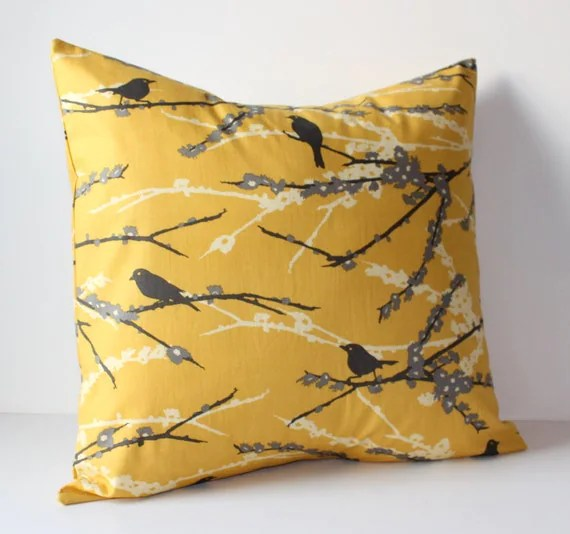 Decorative Pillows Cover Mustard Yellow  Gray Birds 18 x