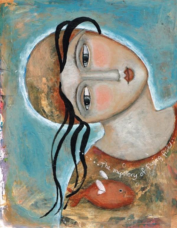 Mixed Media Painting Print Modern Folk Art Expressive