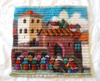 Peruvian Hand Woven Wall Art Hanging Village or Town Scene