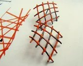 Dynamic Orange Mesh Earrings - Silver Post Earring - Industrial Chic Jewellery - Oxidized Jewelry - QuercusSilver