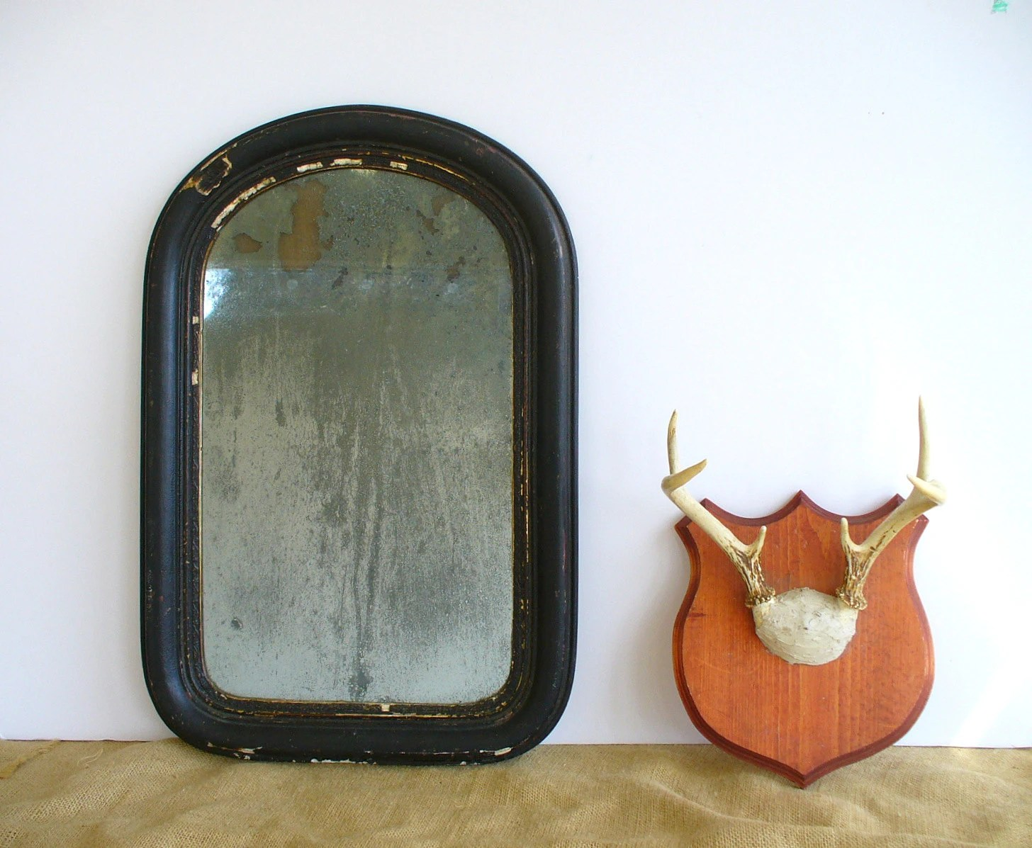 Antique Wall Mirror Arched Frame / Vintage Mens Shaving Mirror