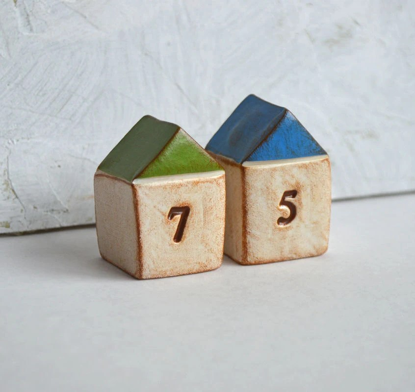 Housewarming, new house gift  ... TWO handmade number houses, custom made to order, with your house number - SkyeArt