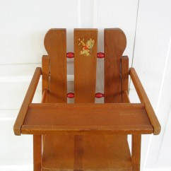 Vintage Wood High Chair Revolving For Computer Doll Decal