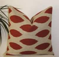 Ikat Rust on Beige Pillow Cover Decorative Pillowcase