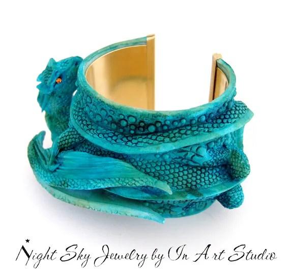 Items similar to Turquoise Dragon Bracelet Dragon Jewelry