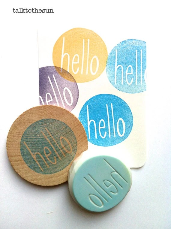 hello rubber stamp. hand carved rubber stamp. circle. mounted. - talktothesun
