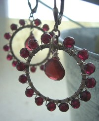 Valentine's Jewelry Ferris Wheel Garnet Earrings Hoop
