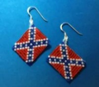 Rebel or Confederate Flag Beaded Earrings