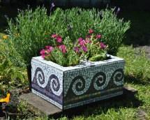 Upcycled Mosaic Cinder Block Garden Planter-purple Tile