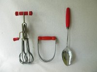 Vintage Kitchen Utensils Red Handle