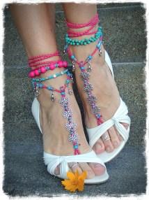 Beach Wedding Barefoot Sandals Flower