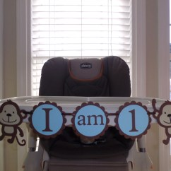 Monkey High Chair Bedroom Chairs Next First Birthday Banner I By