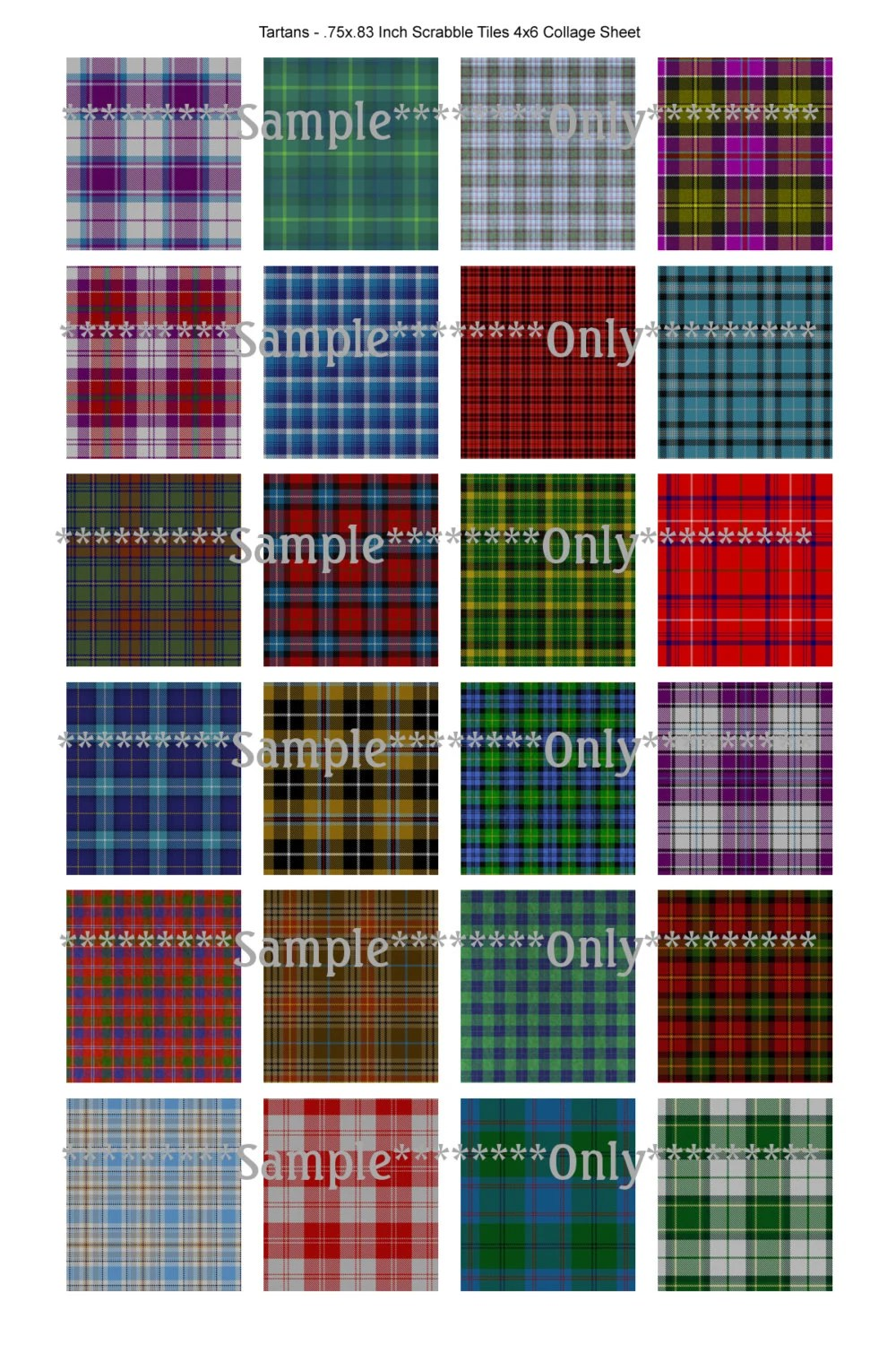 Tartan Plaid Collage Scrabble Tile 2 Digital Image Sheets
