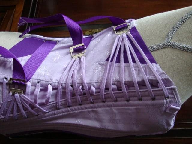 SALE Vintage Lace Up Bustier Corset Purple Violet Hand Dyed