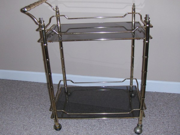 Vintage Bar Cart Brass & Smoked Glass With Casters