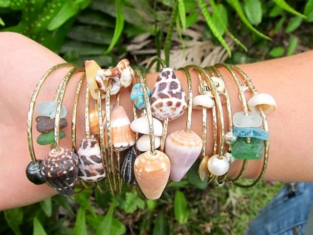Gold Shell Bangle Hawaii Beach Jewelry Stacking Bangles