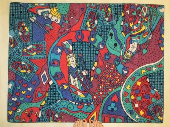 Vintage Rug Queen of Hearts Trippy Card Game Carpet Grunge