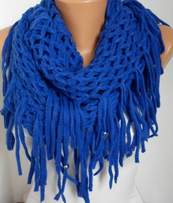 Royal Blue Knitted Lace Infinity Scarf Christmas by fatwoman