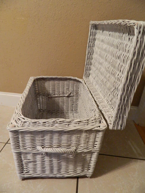 Vintage Wicker Trunk Basket White Antique Wicker