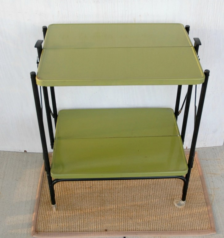 Vintage Folding Metal Kitchen Cart Avocado Black
